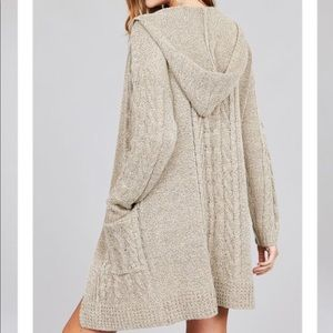 Sweaters - New LONG OPEN FRONT HOODIE CABLE SWEATER CARDIGAN
